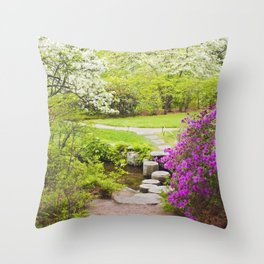 Asticou Azelea Garden In Spring Photograph on Mount Desert Maine Throw Pillow