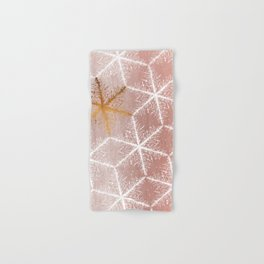 Elegant Geometric Gold Snowflakes Holiday Pattern Hand & Bath Towel