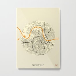 Nashville Map Moon Metal Print
