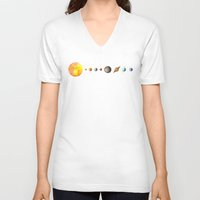 solar system V-neck T-shirts featuring The Solar System by Terry Fan