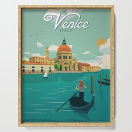 Vintage Travel Poster - Venice City of Water Serving Tray