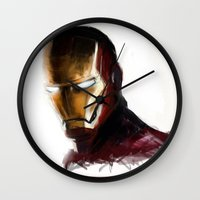 ironman Wall Clocks featuring Ironman by Emiliano Morciano (Ateyo)