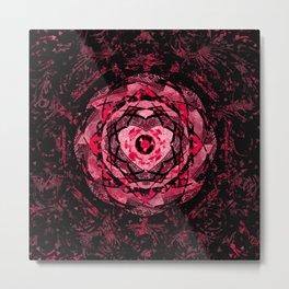 Gothic Pink and Black Heart Mandala Metal Print