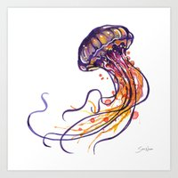 jellyfish Art Prints featuring Jellyfish by Sam Nagel