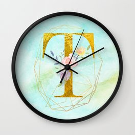 Gold Foil Alphabet Letter T Initials Monogram Frame with a Gold Geometric Wreath Wall Clock