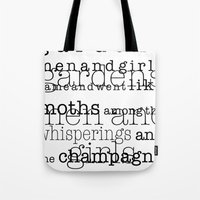 fitzgerald Tote Bags featuring The Great Gatsby Movie Quote F. Scott Fitzgerald by FountainheadLtd