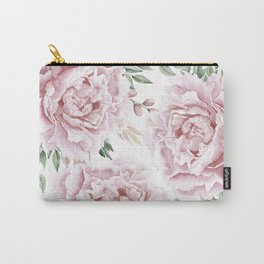 Pretty Pink Roses Floral Garden Carry-All Pouch