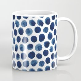 Large Indigo/Blue Watercolor Polka Dot Pattern Coffee Mug