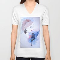 lady V-neck T-shirts featuring Lady by S.Svetlankova