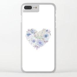 Loose bird of paradise, blue paradisebirds, floral  graphicdesign, birds, home decor Clear iPhone Case