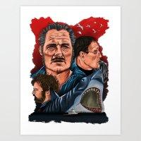 jaws Art Prints featuring JAWS by David Amblard