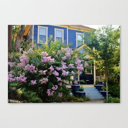 Blue With Yellow Trim House Canvas Print
