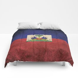 Old and Worn Distressed Vintage Flag of Haiti Comforters