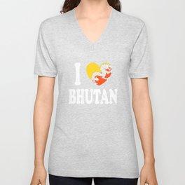 I Love Bhutan Unisex V-Neck