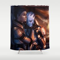 mass effect Shower Curtains featuring Mass Effect - Memories by Amber Hague