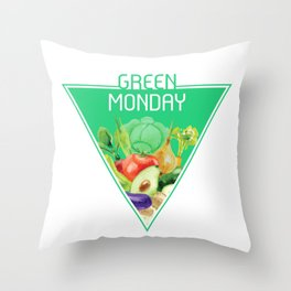The optimal food triangle - Green Monday Throw Pillow