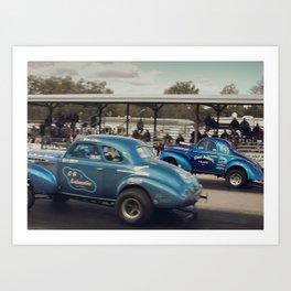 Blue Vintage Willys Gasser Hot Rods Drag Racing Art Print