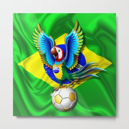 Brazil Macaw Parrot with Soccer Ball Metal Print