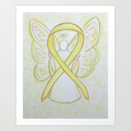 Yellow Awareness Ribbon Angel Art Art Print