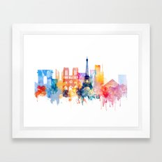 Paris Watercolor skyline Framed Art Print