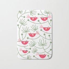 Resting Birdies - Pink Bath Mat