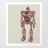 iron giant Art Prints featuring Iron Giant by Luke Spicer Illustration