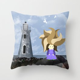 WasteLand Girl and a lighthouse Throw Pillow