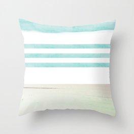nautical stripes: aqua & sand Throw Pillow