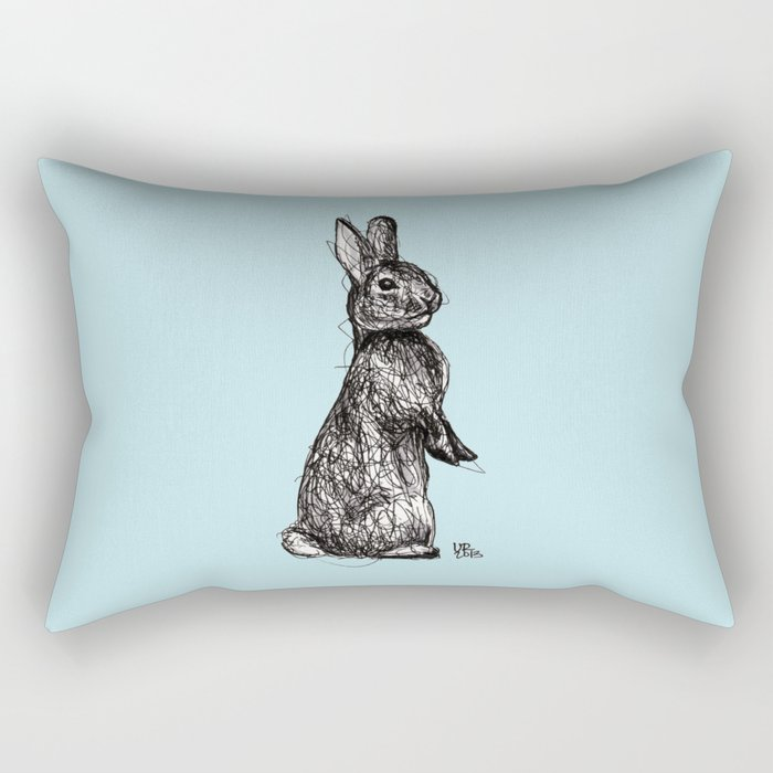 Blue Woodland Creatures - Rabbit Rectangular Pillow