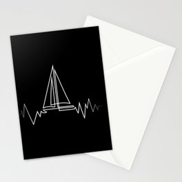 Sailboat Heartbeat Cool Gift for Sailors and Captains Premium design Stationery Cards