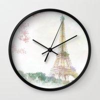 eiffel tower Wall Clocks featuring Eiffel Tower by NKlein Design