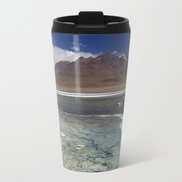 I - Desert lake Laguna Cañapa, Altiplano, Bolivia on a sunny day Travel Mug