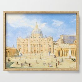 Franz Alt - St. Peter's Square in Rome - Digital Remastered Edition Serving Tray