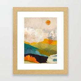 landscape mountains abstract minimal art Framed Art Print