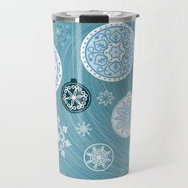 christmas balls with snowflakes on the blue Travel Mug