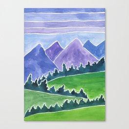 Purple Peace Mountains Watercolor Painting Canvas Print