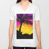 palm V-neck T-shirts featuring palm by Mel E Hyman