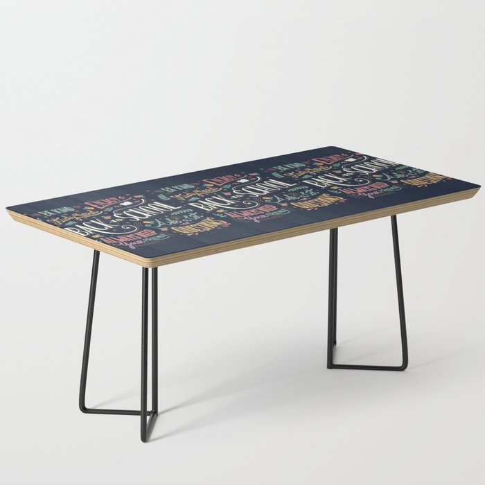Back to school colorful typography drawing on blackboard with motivational messages, hand lettering Coffee Table