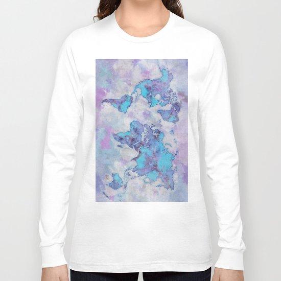 World Map Purple Long Sleeve T-shirt
