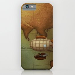 Airship Over Eastern Hemisphere from Neo-Victorian Atlas iPhone Case