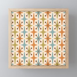 Mid Century Modern Abstract Star Pattern 441 Orange Brown Blue Olive Green Framed Mini Art Print