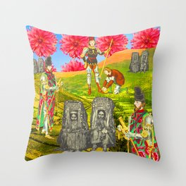 THE COLORFUL KNIGHT AND THE SEPIA BEGGARS Throw Pillow