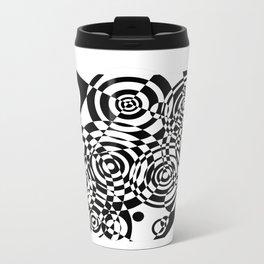Raindrops 2 Black and White Geometric Painting Metal Travel Mug