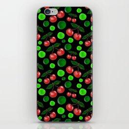 Cherries on Black iPhone Skin