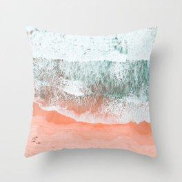 Coral Pink Ocean Print, Download, Sea Print, Beach Wall Art, Modern Beach Print, Beach Wave Print, B Throw Pillow