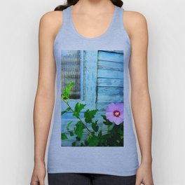 Country Blue Barn Wood Flag Unisex Tank Top