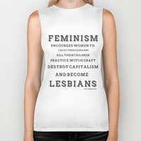 feminism Biker Tanks featuring FEMINISM by K Thomson