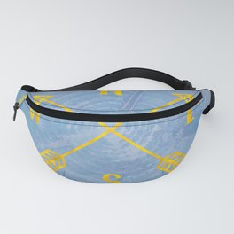 Compass Tree Gold on Blue Fanny Pack