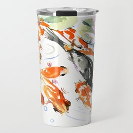 Nine Koi Fish, 9 KOI, feng shui artwork asian watercolor ink painting Travel Mug