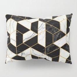Black and White Marble Hexagonal Pattern Pillow Sham